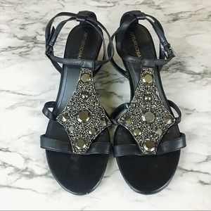 Arturo Chiang Beaded Wedge Sandals